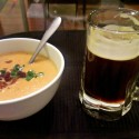 Dark beer homebrew cheese soup
