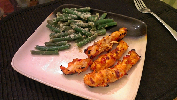 Spicy Grilled Thai Chicken and Creamy Parmesan Green Beans