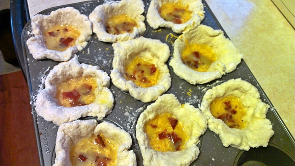 Preparing Bacon, Egg and Cheese biscuit muffins