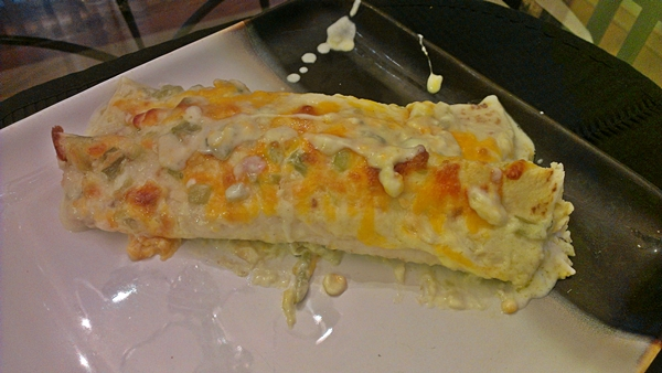 Chicken Enchiladas with green Chile sour cream sauce