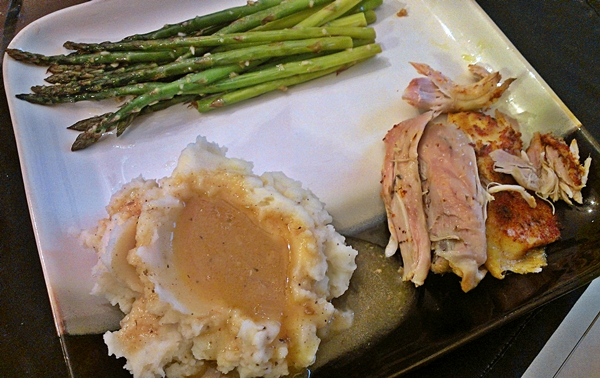 Crockpot whole chicken and mashed potatoes and gravy