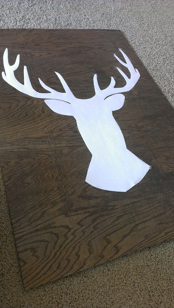 Buck head silhouette thumbtack art