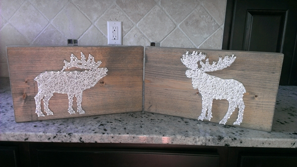 Elk and moose nail and string art