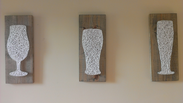 Beer Glass Nail and string bar art