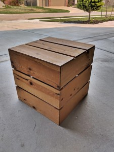 Re-purposed wooden crates - before