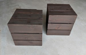 Re-purposed wooden crates - stained